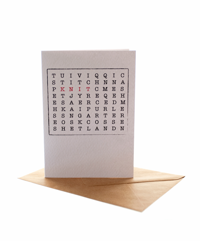 Knitting Word Search Greetings Card