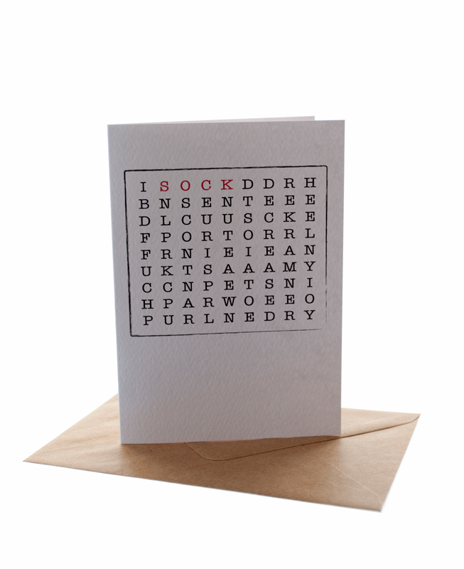 Sock Knitter Word Search Greetings Card