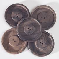 Round Rosewood Buttons (sets of 5) - Natural - Click Image to Close