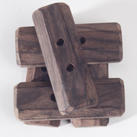 Rosewood Flat Oblong Buttons (set of 5) - Natural