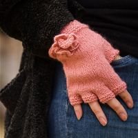 Angora 50 Flower Motif Fingerless Gloves Kit