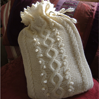 Cashmere Cable and Bobble Hot Water Bottle Cover Pattern