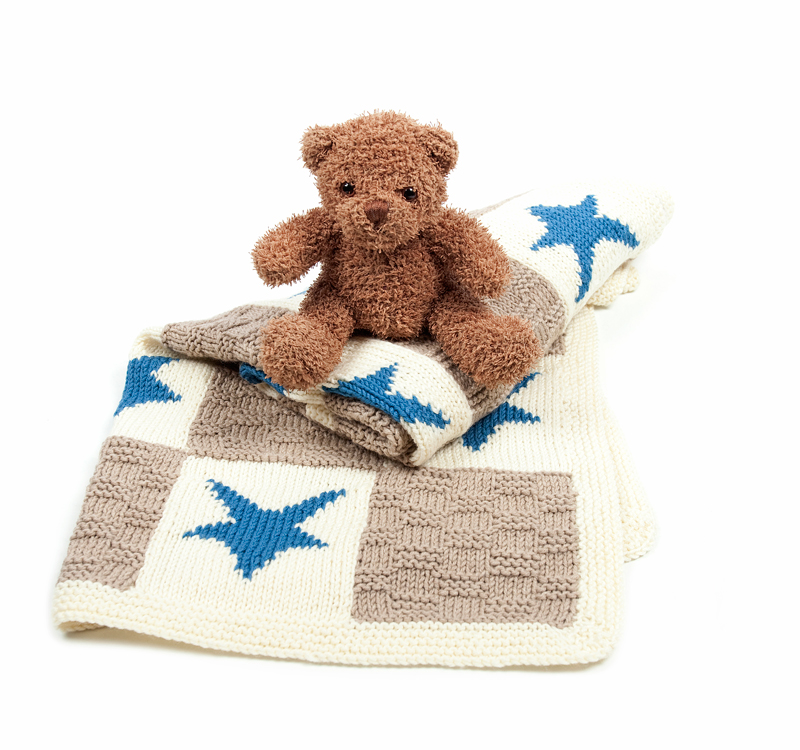 Hearts and Stars Motif Blanket Knitting Kit