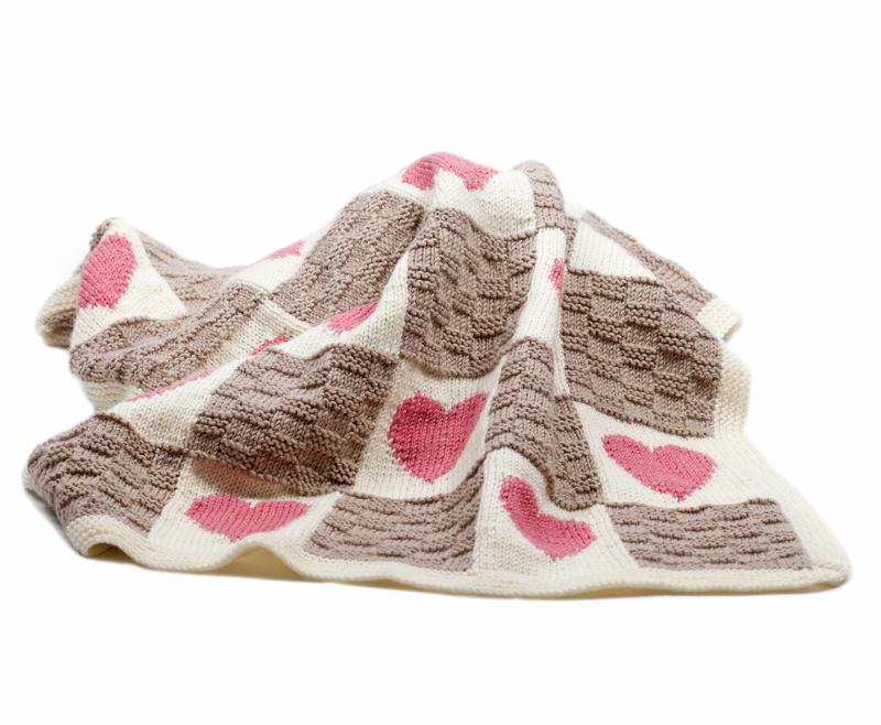 Knitting Patterns And Kits : Hearts and Stars Motif Blanket Knitting Kit [KIT-Hearts-Stars] : The Little K...
