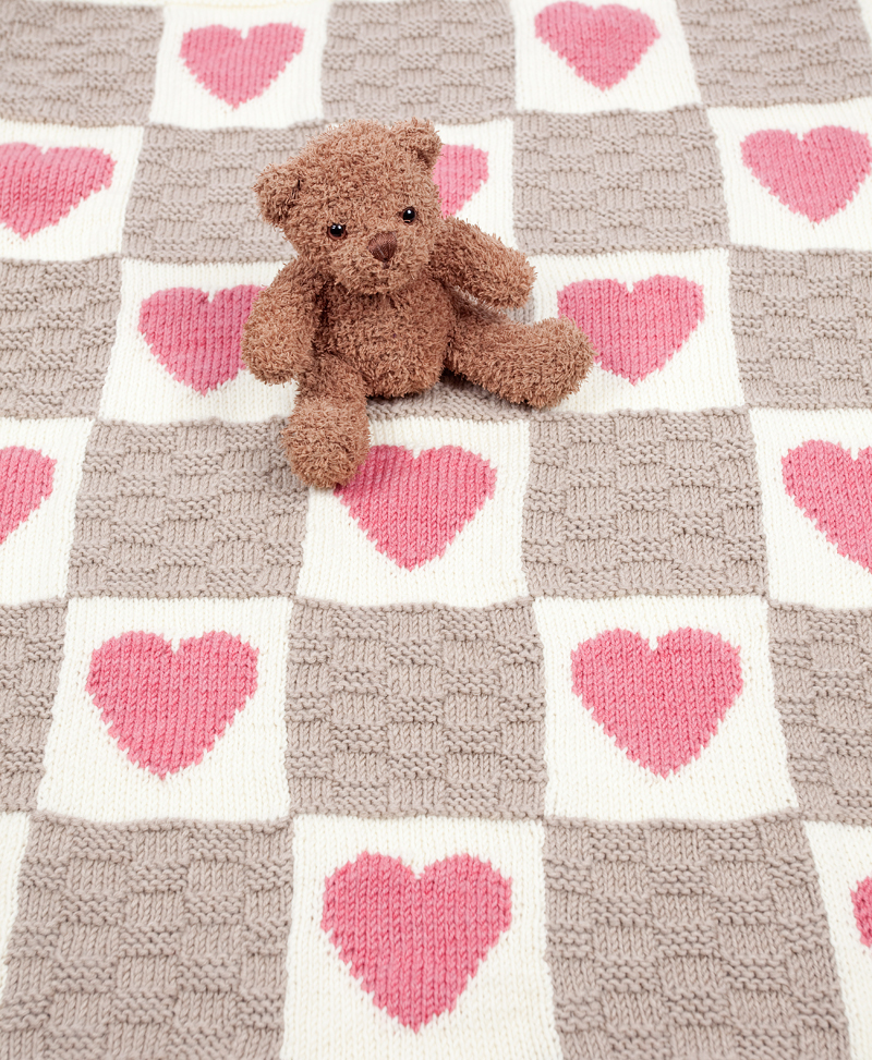 Hearts and Stars Motif Blanket Knitting Kit - Click Image to Close