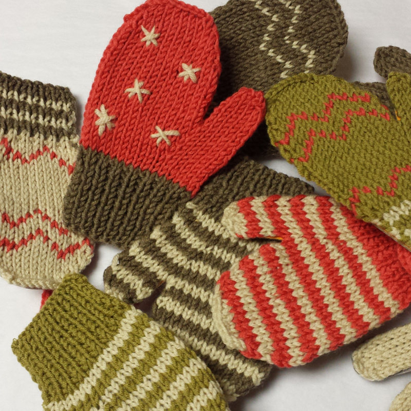 Festive Mittens Card Display Knitting Kit