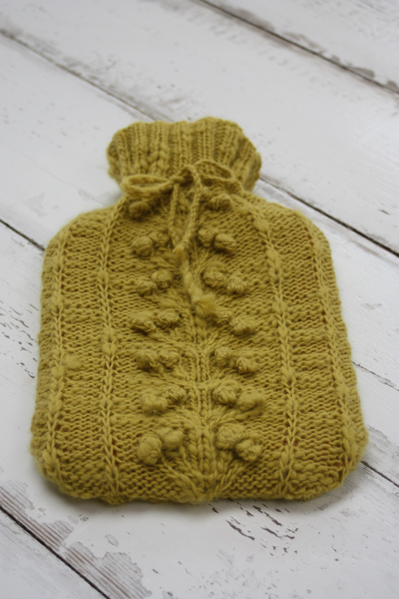 Posies Hot Water Bottle Cover Knitting Kit
