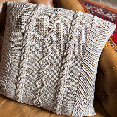 Moss Stitch Diamond and Bobble Cable Cushion Cover Pattern [PAT-TEBE-CC] : Th...