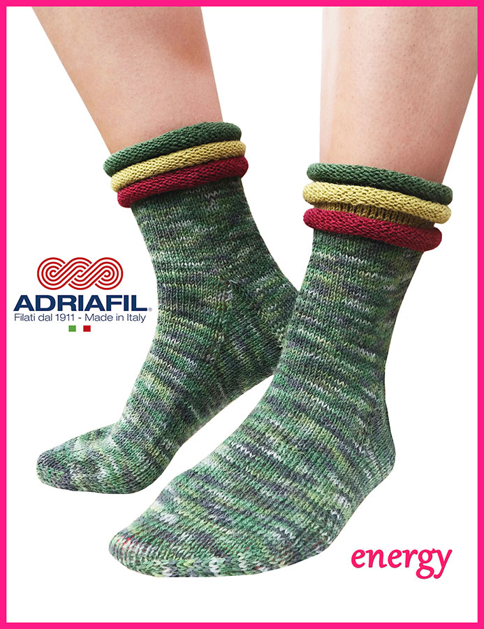 "Calzasocks - ""Energy"" socks with contrast rolled cuff"