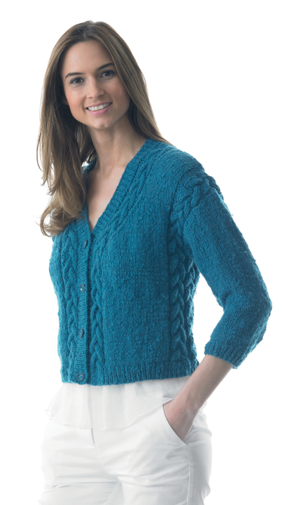 Cable Cropped Cardigan Knitting Pattern