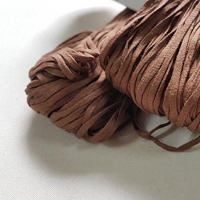 100% Cotton Tape Yarn - rich brown 50g
